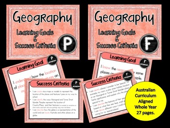 Prep / Found  Geography – Aus curric Learning Goals & Succ