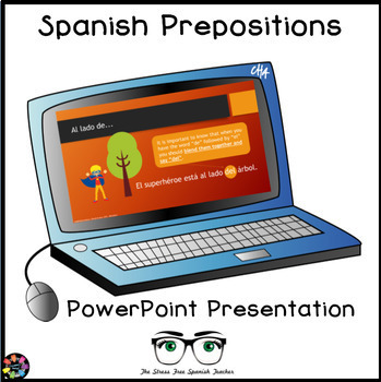 FREE Spanish Prepositions PowerPoint, Town & City Giving D