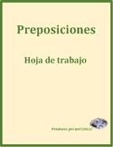 Preposiciones (Prepositions in Spanish) worksheet