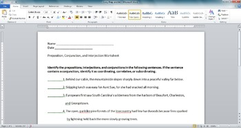 Preposition, Conjunction, and Interjection Worksheet
