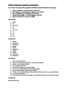 Preposition, Conjunctions, and Interjections Practice Answer Key