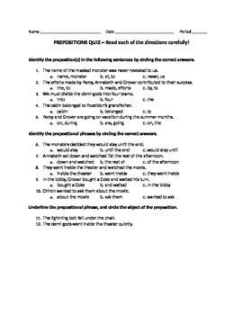 Preposition Quiz and Key