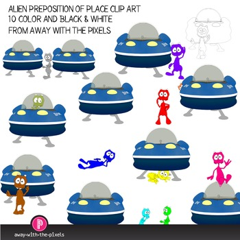 Preposition of Place Clip Art with Cute Alien and Spaceshi