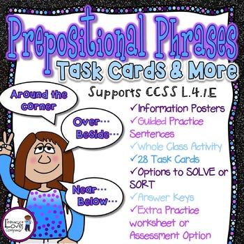 Prepositional Phrases Task Card Literacy Center {CCSS L.4.1.E}