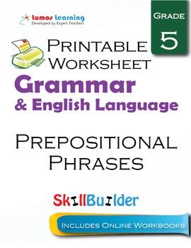 Prepositional Phrases Printable Worksheet, Grade 5