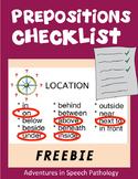 Prepositions Checklist