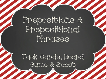 Prepositions & Prepositional Phrases Task Cards, Board Gam