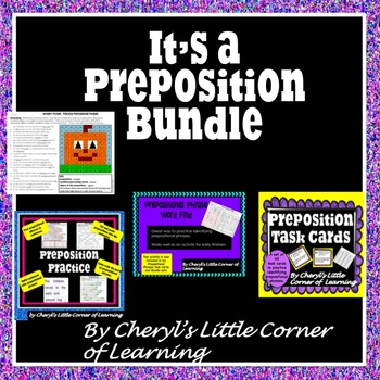 Prepositions Task Cards, Cut and Paste, Word Find, and Mys