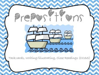 Prepositions: Task Cards, Writing/Illustrating and Close R