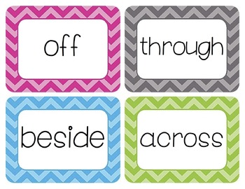 Prepositions Word Wall Cards