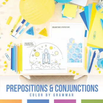 Prepositions and Conjunctions Coloring Sheet