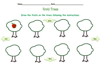 Prepositions of Location:  Fruit Trees - FREEBIE