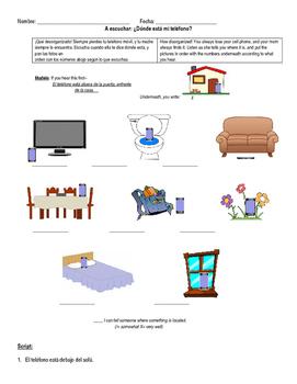 Prepositions of place listening activity-¿Dónde está mi teléfono?