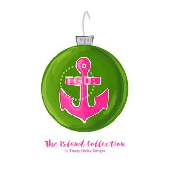 Preppy Anchor Christmas Ornament Clip Art Printable Tracey