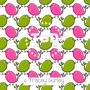 Preppy Cute Birds Pink and Green digital paper Printable T