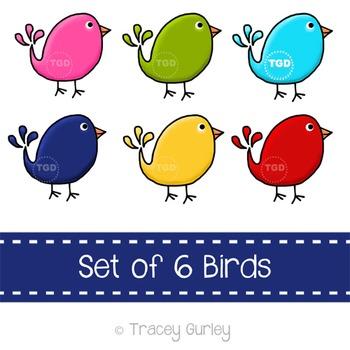 Preppy Cute Birds, set of 6 - bird clip art Printable Trac