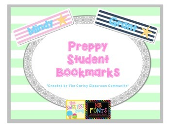 Preppy Editable Student Bookmarks