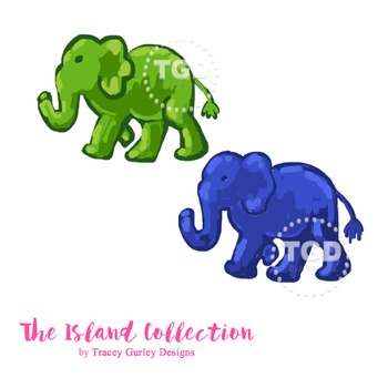 Preppy Elephant clip art, navy elephant and green elephant