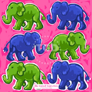 Preppy Elephants digital paper pink, navy, and green - Ori
