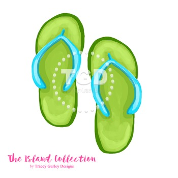 Preppy Green and Turquoise Flip Flop Clip Art - Tracey Gur