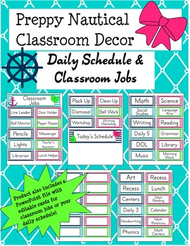 Preppy Nautical Classroom Theme Classroom Jobs and Daily S