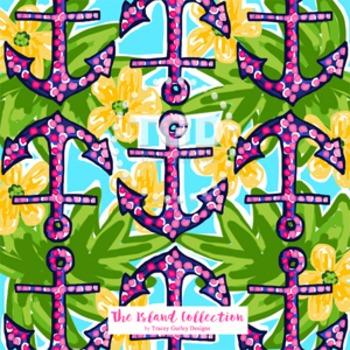 Preppy Navy and Pink Anchors digital paper - Original Art