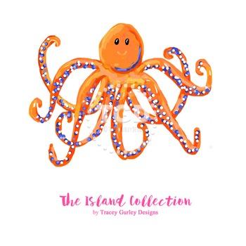 Preppy Octopus clip art - Tracey Gurley Designs