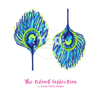 Preppy Peacock Feather Clip Art - Tracey Gurley Designs