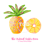 Preppy Pineapple clip art - Tracey Gurley Designs