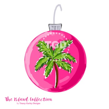 Preppy Pink Christmas Ornament Clip Art Printable Tracey G