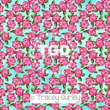 Preppy Pink Roses on turquoise background digital paper Pr