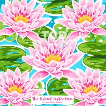 Preppy Pink Water Lilies digital paper - Original Art Printable