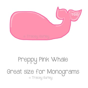 Preppy Pink Whale - Pink whale clip art Printable Tracey G