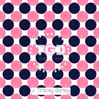 Preppy Pink and Navy Watercolor Polka Dot Pattern on White