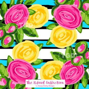 Preppy Pink and Yellow Flowers on Stripes digital paper Tr
