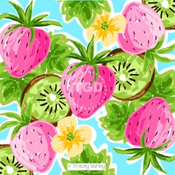 Preppy Strawberry Kiwi pink, green, and turquoise digital