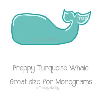 Preppy Turquoise Whale, turquoise whale clip art Printable