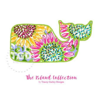 Preppy Whale with Sunflowers Design clip art - Tracey Gurl