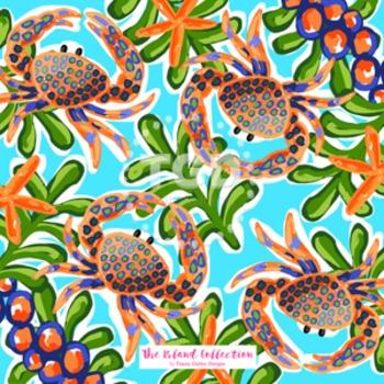 Preppy crab digital paper - Original Art download, preppy