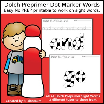Preprimer Dot Marker Words