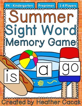 Preprimer Summer Sight Word Memory Game