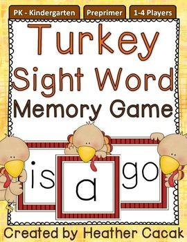 Preprimer Turkey Sight Word Memory Game