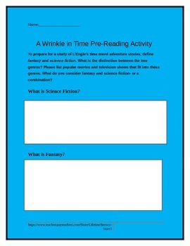 Prereading Activity for A Wrinkle in Time