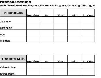 Preschool Assessment/Report Card Form