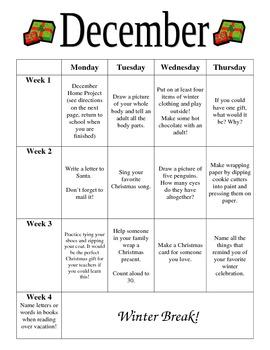 Preschool December Homework