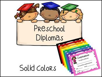 Preschool Diplomas- Solid Colors