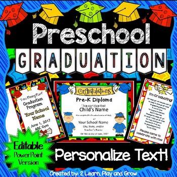 Preschool Graduation Diplomas, Invitations, and Program fo
