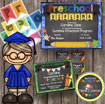 Preschool Graduation Pack - Diploma - Banner - Sign - Anno