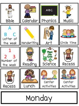 Preschool Interactive Daily Schedule Chart. Preschool-PreK