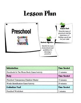 Preschool Lesson